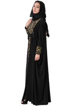 Gorgeous abaya design with abstract quad embroidery down the front. A faux belt center focuses the entire look and the inside tie lets you choose your own fit. Pair with matching scarf for a more form