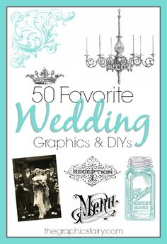 50 Favorite Wedding Graphics and DIYs - Graphics Fairy. So many beautiful free Vintage Wedding Images to print and use in craft projects, favors, invitations and DIY Home decor. Graphics Fairy, Free Graphics, Diy Wedding, Rustic Wedding, Wedding Ideas, Wedding Trends, Free Wedding, Wedding Bells, Wedding Stuff