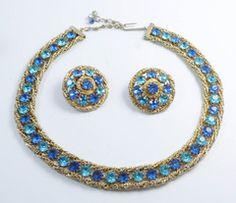Hattie Carnegie Blue Rhinestone Gold Mesh Necklace Clip Earrings Set - Vintage Lane Jewelry - 1