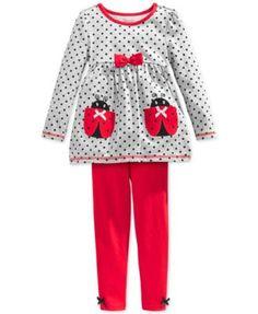 Nannette Little Girls' 2-Piece Dotted Ladybug Tunic & Leggings Set