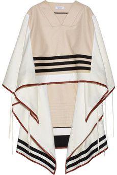 Altuzarra Ono leather-trimmed wool-blend cape