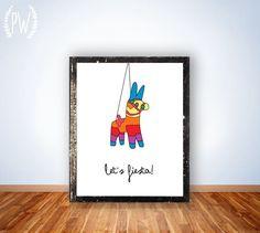 Printable wall art, nursery decor poster, pinada fiesta, Spanish typography digital - Lets Fiesta
