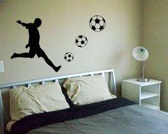 Soccer Player Decal Sticker Wall cool sports futbol boy girl nice modern nusery. $40.00, via Etsy.