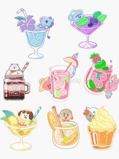 bebidas' by myoneandonly Cute Food Drawings, Cute Kawaii Drawings, Bts Drawings, Cute Animal Drawings, Kawaii Art, Kawaii Wallpaper, Bts Wallpaper, Cute Food Art, Cute Art Styles