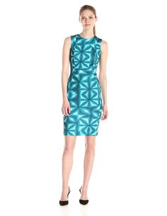 Calvin Klein Women's Printed Scuba Sheath Dress ** Be sure to check out this awesome product.