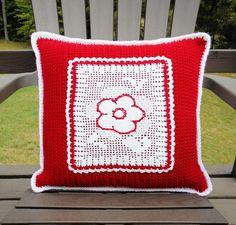 Handmade Home Decor. .   https://www.etsy.com/listing/246292350/crochet-throw-pillow-red-white-daisy