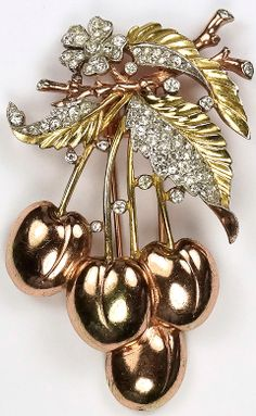 Trifari 'Alfred Philippe' Pave and Two Colour Gold Cherries Pin Clip
