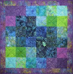 Baby Quilt, Nursery Bedding, Handmade Toddler Blanket, Shower Gift, Green Blue Purple
