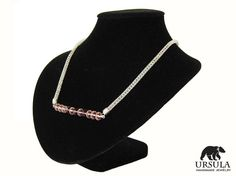 Viking Knit Necklace Silver Plated Pink and by UrsulaChainmaille, $22.00
