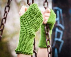 Olive Green Fingerless Gloves / Green Crochet Arm by RUKAMIshop