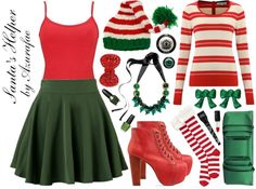 This is a take on an elf outfit. This is definitely on the more kitchy side of some Winter holidays. Santa's Helper by azurafae . Diy Elf Costume, Santa's Helper Costume, Diy Costumes, Costume Ideas, Ugly Sweater Party, Ugly Christmas Sweater, Tacky Christmas, Xmas, Christmas Clothes