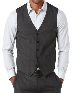 PERRY ELLIS FIVE BUTTON TRAVEL LUXE VEST - BLACK - SIZE XS (EXTRA SMALL) #PerryEllis