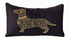 "Black Burlap Pillow Cover with Dachshund Silhouette Embroidered in Gold Sequins and Beads - Handcrafted 12""x 20"" Lumbar Pillowcase - Contemporary Decorative Pillow Cover - Dog Pillowcover - Gifts Amore Beaute http://www.amazon.com/dp/B00OTXXAGU/ref=cm_sw_r_pi_dp_DpKXub1HD2D27"