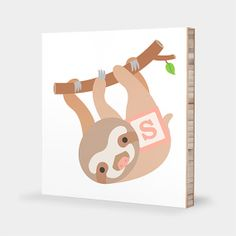 S for Sloth : ABC Block Bamboo Wall Art Series // Alphabet Kids Wall Art Nursery Room Decor Animal Art Baby