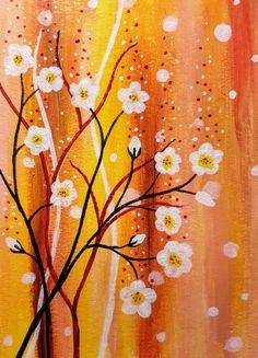 white flowers on orange