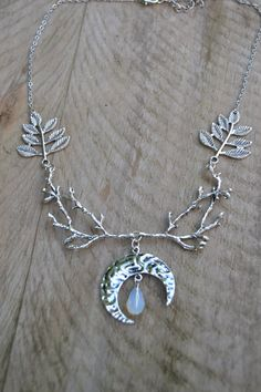 Diana goddess necklace elven woodland jewelry statement branch necklace crescent moon, wiccan jewelry, moon necklace silver with opalite by Valkyrie´s Song
