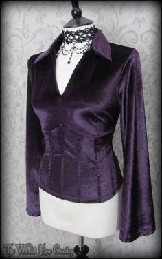 Elegant Gothic Plum Purple Velvet Corset Style Top 14 Victorian Vamp Romantic | THE WILTED ROSE GARDEN