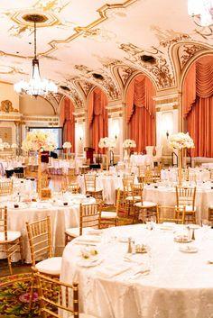Gold and ivory ballroom wedding #elegantwedding #reception #ballroom #goldwedding #formalwedding