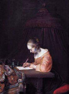 "1655 - ""Woman writing a letter"" by Gerard ter Borch (Dutch Baroque Era painter, Johannes Vermeer, Carpet Cover, Dutch Golden Age, Cool Lettering, Museum, Dutch Painters, Rembrandt, 17th Century, Canvas"