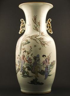 Republic - Large polychrome Baluster vase with openwork handles and decor of ladies under a prunus tree, calligraphy to the reverse