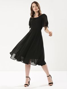 ec5e08e9a Buy Women KOOVS Black Midi Dress Online only for Grab Girl's KOOVS Black  Midi Dress Online in India at best prices exclusively at KOOVS.