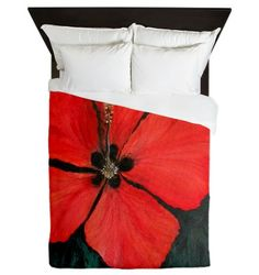 Red Tropical Christmas Hibiscus Queen Duvet Cover by ROKINRONDA