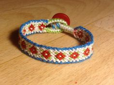 Vintage flower friendship bracelet pattern number 6368 - For more patterns and tutorials visit our web or the app!