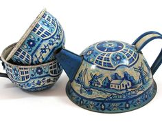 1940s Toy Teapot & Cups, Vintage tin with litho in blue and white.