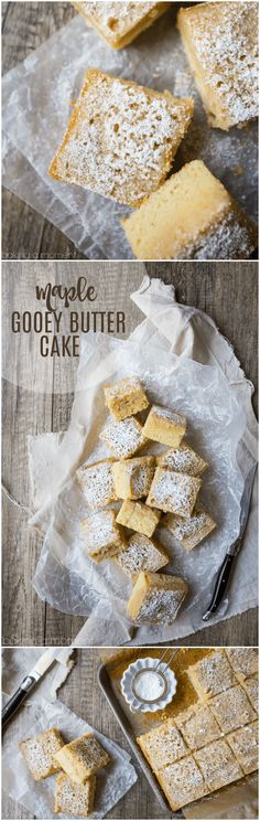Maple Gooey Butter Cake: no cake mix required! This tasted like a cake version of pancakes with butter & syrup. food desserts cake via Best Dessert Recipes, Fun Desserts, Sweet Recipes, Delicious Desserts, Cake Recipes, Easy Butter Cake Recipe, Gooey Butter Cake, Pudding, Fun Cooking