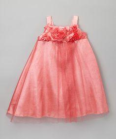 Look what I found on #zulily! Coral Rosette Dress - Toddler & Girls by ClassyKidzShop #zulilyfinds
