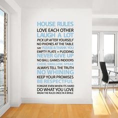 House rules wall sticker, this quote sticker or saying is perfect for any room, and works especially well in a kitchen. Customise the colours and it is removable. Both bold and normal text are in this typography wall sticker. | Vinyl Impression