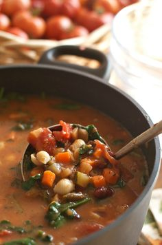 Fall Dinner Party Minestrone Soup Recipe | ReluctantEntertainer.com #MeatlessMonday
