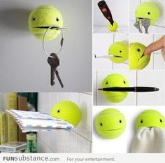 Use your tennis ball to hold things