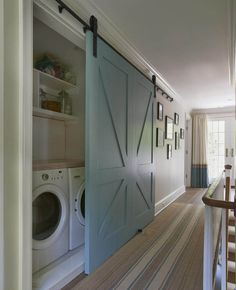 Barn door accents are really in right now! Check out this cool laundry room barn door idea! Country Laundry Room with specialty door, Industrial barn door hardware, Undermount sink, Rustica Hardware Full X Barn Door Style At Home, Laundry Room Design, Home Fashion, Fashion Trends, My Dream Home, Home Remodeling, Bathroom Renovations, Cheap Remodeling Ideas, Home Renovations