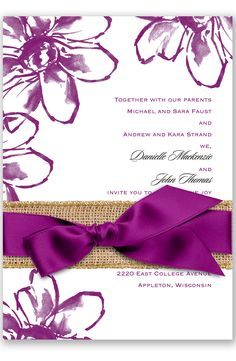 Plumeria Fantasy Wedding Invitation in Sangria by David's Bridal