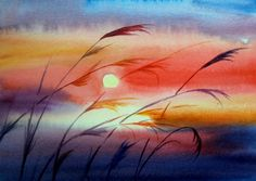 """Sunset  in Watercolor"", painting by artist Meltem Kilic"