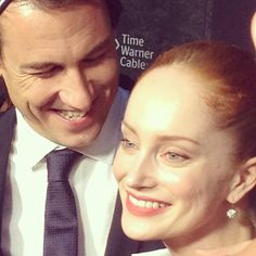 Tobias Menzies and Lotte Verbeek (being ADORABLE) at @outlander_starz #sdcc via @fangirlish