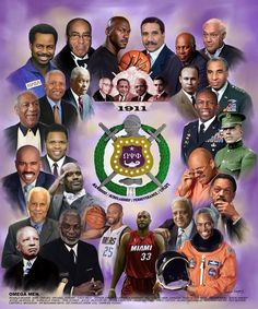 An montage by Wishum Gregory that features famous and historic members of Omega Psi Phi Fraternity, Inc. Perfect for any new or existing member! Alpha Phi Alpha, Zeta Phi Beta, Delta Sigma Theta, Omega Psi Phi Paraphernalia, Happy Founders Day, Black Fraternities, Aka Sorority, Sorority Nails, Sorority Sisters