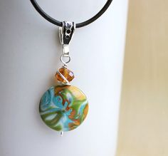 Colorful pendant. Polymer clay lentil focal bead.  Organic pattern. Teal, green gold. Polymer clay jewelry.  Love the colors!!