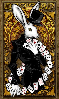 Rabbit Tarot Card Vintage Retro Circus Ad Art Poster Print Postcard ☮~ღ~*~*✿⊱  レ o √ 乇 !! ~
