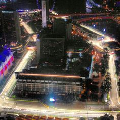 A high view of the Singapore Grand Prix track from the helipad on the Swiss Hotel, more lights than Christmas are required as it's a night race. Singapore Grand Prix, Formula 1, F1, Track, Racing, Lights, Christmas, Pictures, Circuits