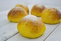 e-cocinablog: bollos suizos de calabaza Hamburger, Bread, Amor, Pumpkin Scones, Bread Recipes, Breads, Breakfast, Sweets, Homemade Biscuits