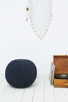 Navy Knitted Bean Bag Chair - Urban Outfitters