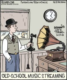 Bizarro: Old School Music Streaming Good Cartoons, Funny Cartoons, Funny Memes, Funny Pins, Music Jokes, Music Humor, Hulk Sketch, Bizarro Comic, Studios