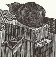 "Alastair Lovett - ""Pastry the workshop cat"" - Wood engraving"