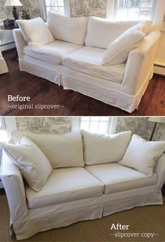 I gave this Mitchell Gold sofa a makeover by copying the old linen slipcover to make a new one in natural denim.