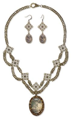 Double-Strand Necklace and Earring Set with Chainmaille, Antiqued Brass Links and Glass Rhinestone Chatons