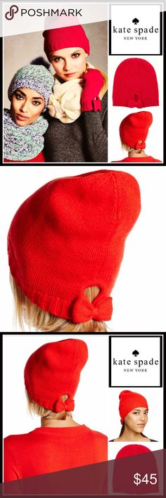 MKATE SPADE Red Knit Winter Hat 💟NEW WITH TAGS💟  RETAIL PRICE: $58  KATE SPADE Red Knit Winter Hat  * Super soft knit construction   * Rib trim    * Stretch-to-fit beanie style, one size fits most   * Cozy & comfortable   * Keyhole & back bow detail     * Well made  Fabric- 70% acrylic, 30% wool  Color- Red  Item#:   🚫No Trades🚫 ✅ Offers Considered*✅  *Please use the blue 'offer' button to submit an offer kate spade Accessories Hats
