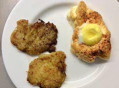 Pečené vejce na obláčku, bramborové placičky