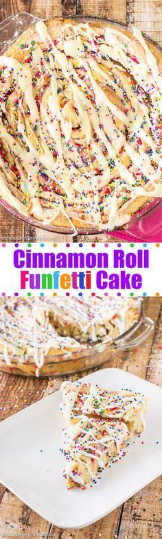 Cinnamon Roll Funfetti Cake